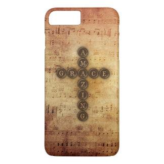 Amazing Grace Cross on Aged Vintage Sheet Music iPhone 8 Plus/7 Plus Case