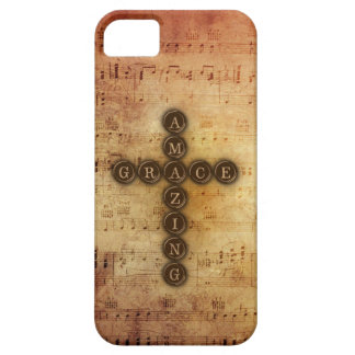 Amazing Grace Cross on Aged Vintage Sheet Musical iPhone 5 Cover