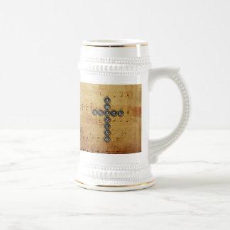 Amazing Grace Cross on Vintage Music Sheet Beer Steins