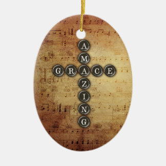 Amazing Grace Cross on Vintage Music Sheet Ceramic Ornament