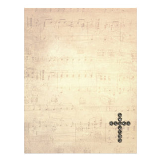 Amazing Grace Cross on Vintage Music Sheet Letterhead Template