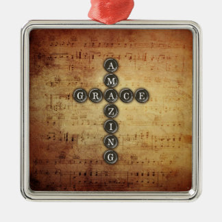 Amazing Grace Cross on Vintage Music Sheet Metal Ornament