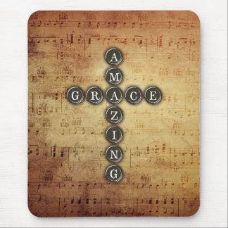 Amazing Grace Cross on Vintage Music Sheet Mouse Pad