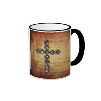 Amazing Grace Cross on Vintage Music Sheet Coffee Mugs