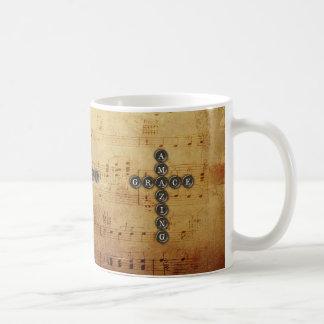 Amazing Grace Cross on Vintage Music Sheet Basic White Mug