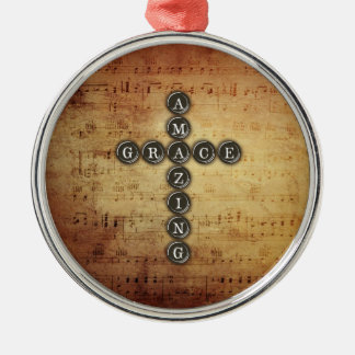 Amazing Grace Cross on Vintage Music Sheet Silver-Colored Round Ornament