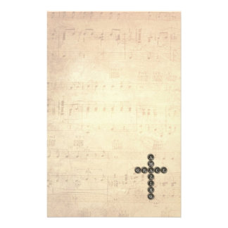 Amazing Grace Cross on Vintage Music Sheet Stationery