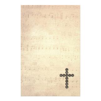 Amazing Grace Cross on Vintage Music Sheet Stationery Paper