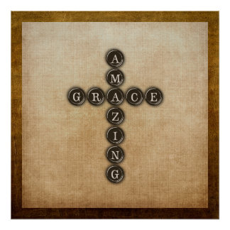 Amazing Grace Cross Wordart Poster