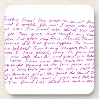Amazing Grace handwritten lyrics Beverage Coaster