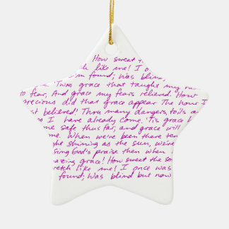 Amazing Grace handwritten lyrics Ceramic Star Ornament
