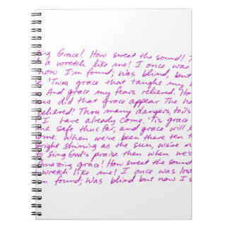 Amazing Grace handwritten lyrics Spiral Notebook
