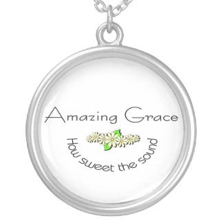 Amazing Grace how sweet the sound Christian Round Pendant Necklace