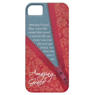 Amazing Grace Hymn - Red Floral Zipper Pull Design iPhone 5 Case