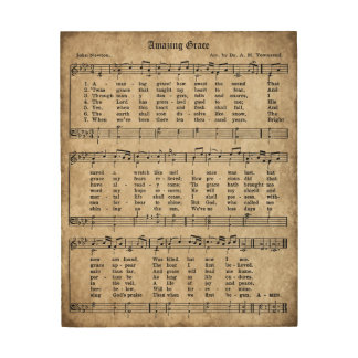 Amazing Grace Vintage Hymn Sheet Music Wood Sign