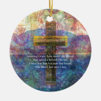 Amazing Grace words with scenic Christian painting Round Ceramic Ornament