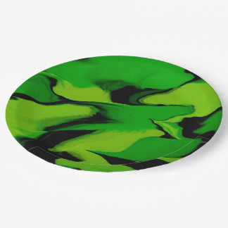 Amazing Green and Black Splash Paper Plate