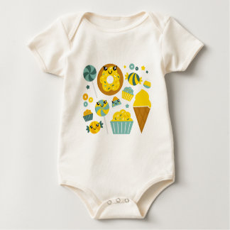 Amazing hand-drawn Donuts Illustrated Baby Bodysuit