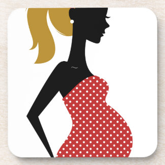 Amazing hand painted girl Red Beverage Coasters
