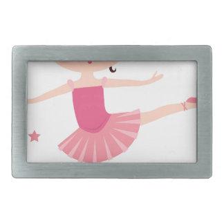 Amazing hand painted Pink balerina Rectangular Belt Buckle