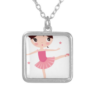 Amazing hand painted Pink balerina Silver Plated Necklace