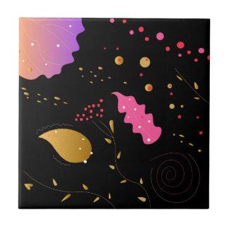 Amazing handdrawn Artistic Collection BLACK FOLK Tile