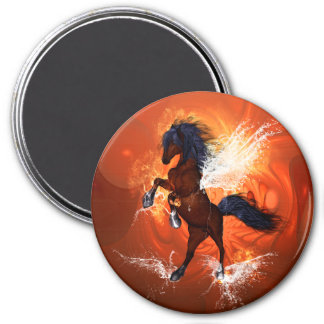 Amazing horse with fire and water 3 inch round magnet