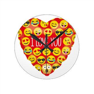Amazing I love you Emoji Gift Round Clock