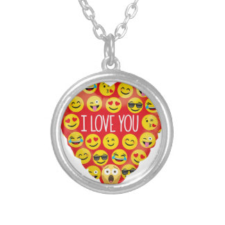 Amazing I love you Emoji Gift Silver Plated Necklace