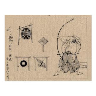 Amazing Japanese Archer Drawing circa 1878 Postcard