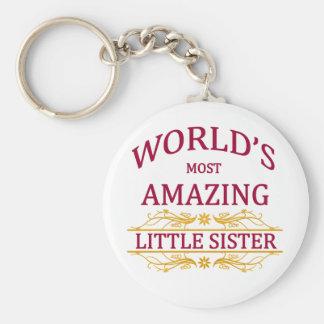 Amazing Little Sister Basic Round Button Keychain
