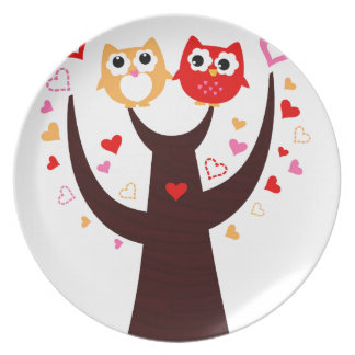 Amazing Love birds colorful on Tree Plate