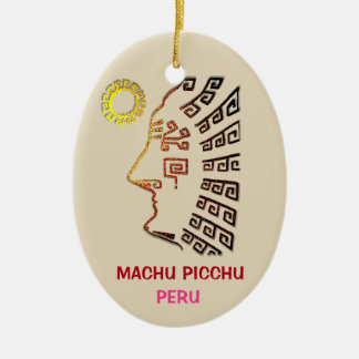Amazing Machu Picchu Drawing Ceramic Ornament