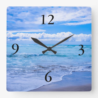 amazing ocean waves square wall clock