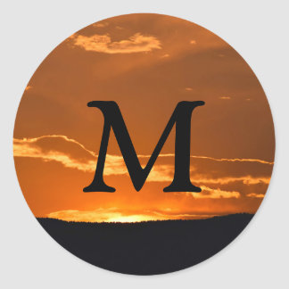 amazing orange mountain sunset sticker