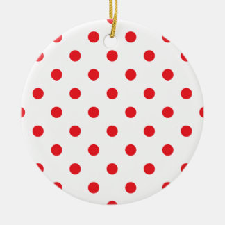 Amazing red dots on white ceramic ornament