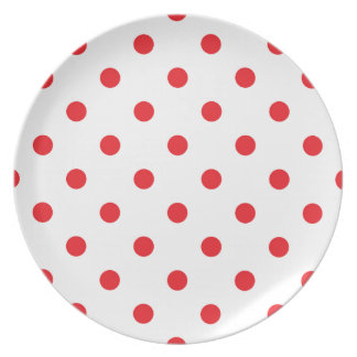 Amazing red dots on white plate