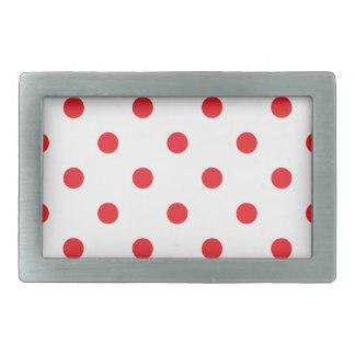 Amazing red dots on white rectangular belt buckle