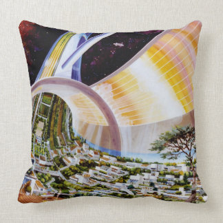 Amazing Sci Fi Space Colony Throw Pillow