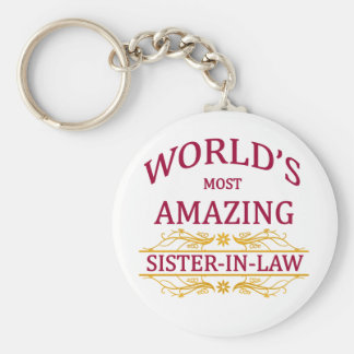 Amazing Sister-In-Law Basic Round Button Keychain