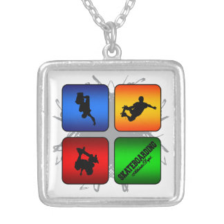 Amazing Skateboarding Urban Style Silver Plated Necklace