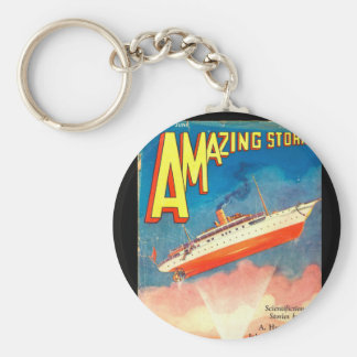 Amazing Stories - Jun 1930_Pulp Art Basic Round Button Keychain