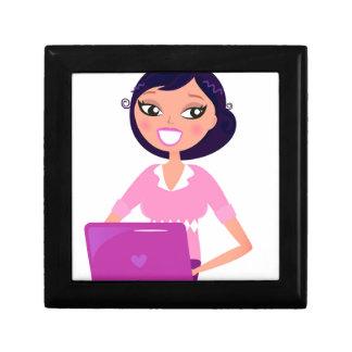 Amazing stylish Lady with Computer purple Gift Box