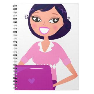 Amazing stylish Lady with Computer purple Note Books