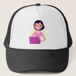 Amazing stylish Lady with Computer purple Trucker Hat