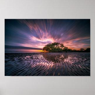 Amazing sunset beach scene poster