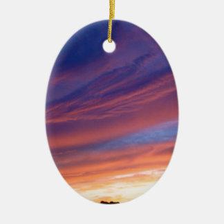 Amazing Sunset Ceramic Oval Ornament