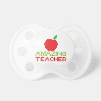 AMAZING TEACHER with digital apple Baby Pacifiers