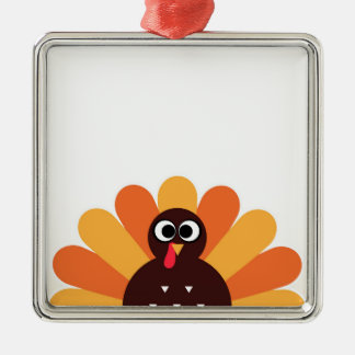 Amazing turkey in brown, yellow metal ornament