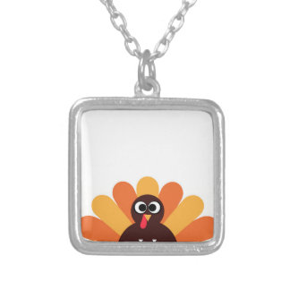 Amazing turkey in brown, yellow silver plated necklace
